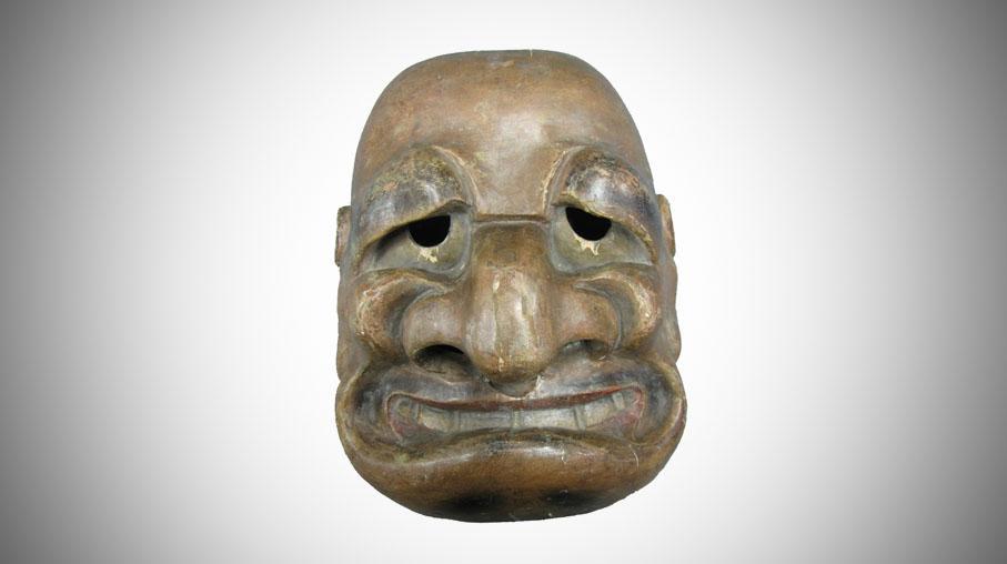 Le masque du dmon japonais sosie de Jacques Chirac arrive au Quai Branly