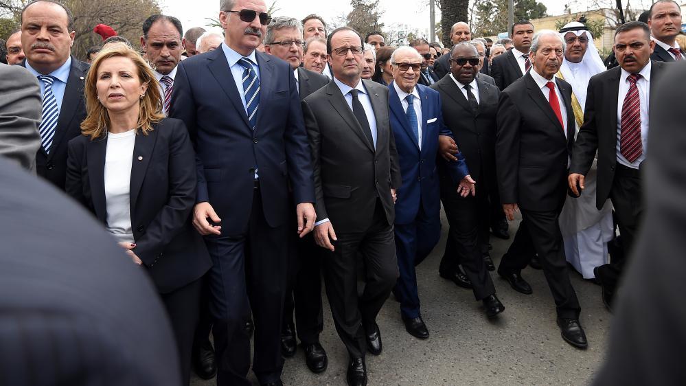 Le président tunisien Beji Caid Essebsi et le président français François Hollande, le 29 mars 2015 à Tunis (Tunisie).