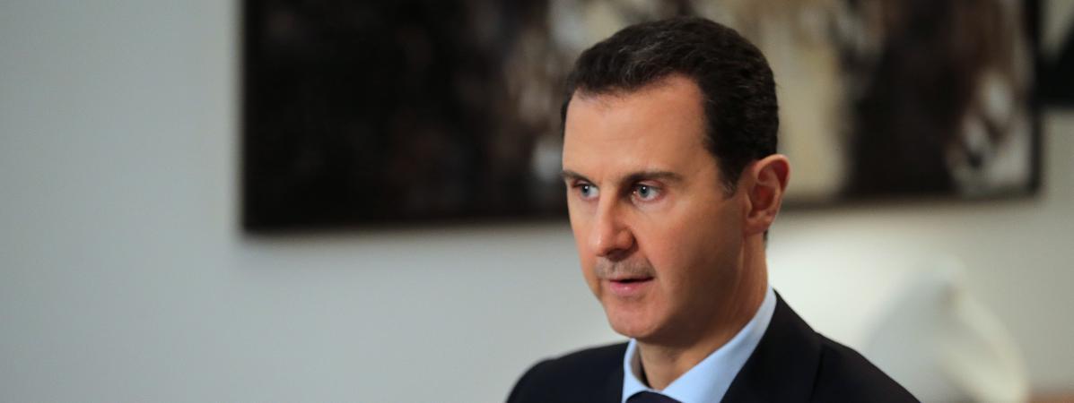 Le président syrien Bachar Al-Assad lors d'un entretien à l'AFP, jeudi 11 février 2016 à Damas (Syrie).