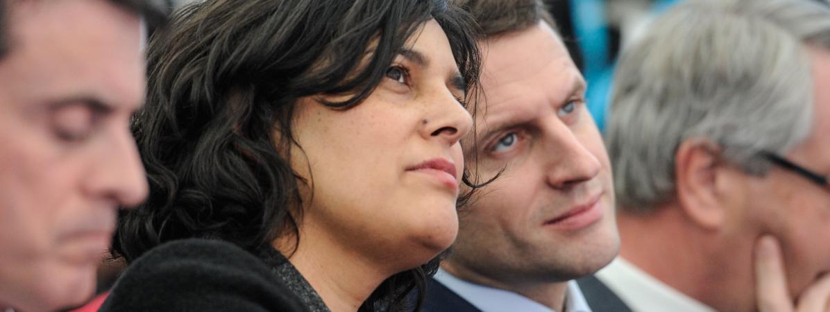 La ministre du Travail, Myriam El Khomri, et le ministre de l'Economie, Emmanuel Macron, le 22 février 2016 à Chalampé (Haut-Rhin).