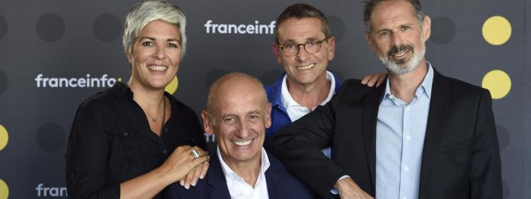 """Le """"8h30 Aphatie"""" sur franceinfo avec aux manettes de gauche à droite : Fabienne Sintes, Jean-Michel Aphatie,Guy BirenbaumetGilles Bornstein"""