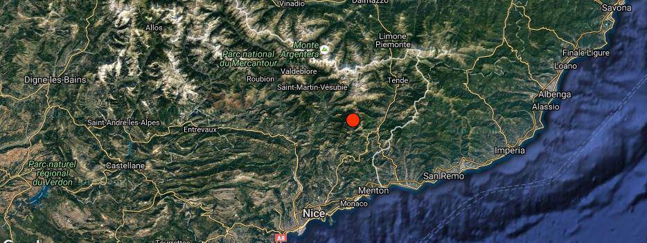 L'épicentre du séisme survenu le 3 septembre 2016 dans les Alpes-Maritimes, localisé par leRéseau national de surveillance sismique.