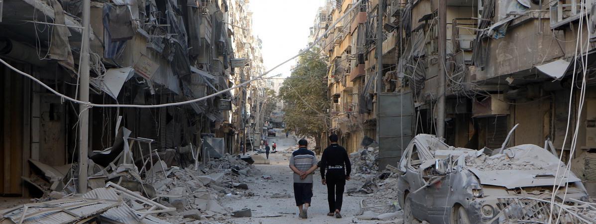 Dans une rue d'Alep (Syrie), le 24 septembre 2016.