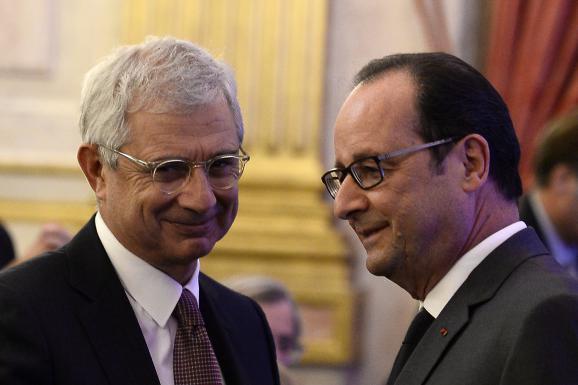 Le président de l'Assemblée nationale, Claude Bartolone, et François Hollande, le 6 octobre 2016 à l'hôtel de Lassay (Paris).