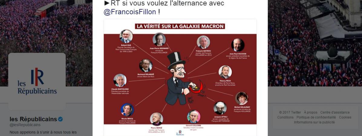Les Républicains ont posté sur Twitter une caricature polémique d\'Emmanuel Macron, vendredi 10 mars, avant de supprimer le tweet.