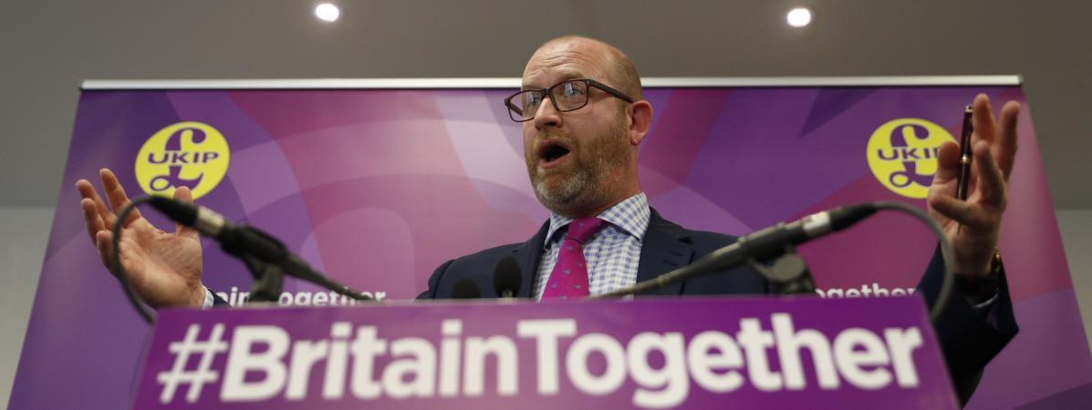 Le leader de l\'Ukip, Paul Nuttall, lors d\'un meeting de campagne, le 6 juin 2017, à Londres (Royaume-Uni).