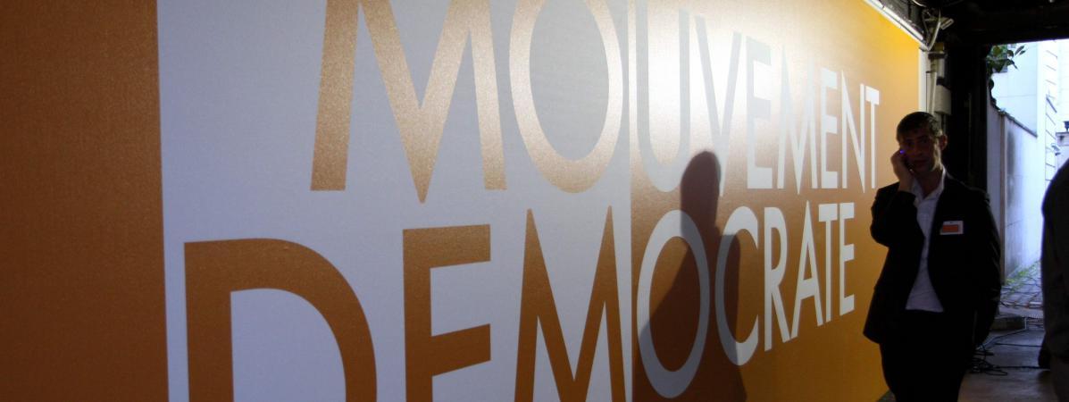 Le siège du MoDem, rue de l\'Université à Paris, en 2009 lors des élections européennes.