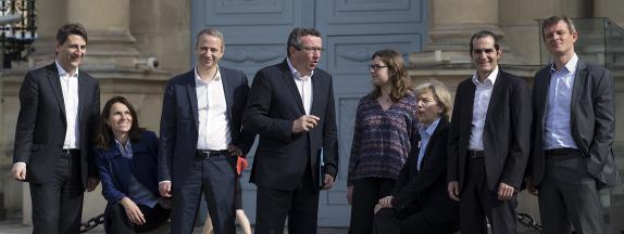 Des représentants des frondeurs, à Paris, le 11 mai 2015.