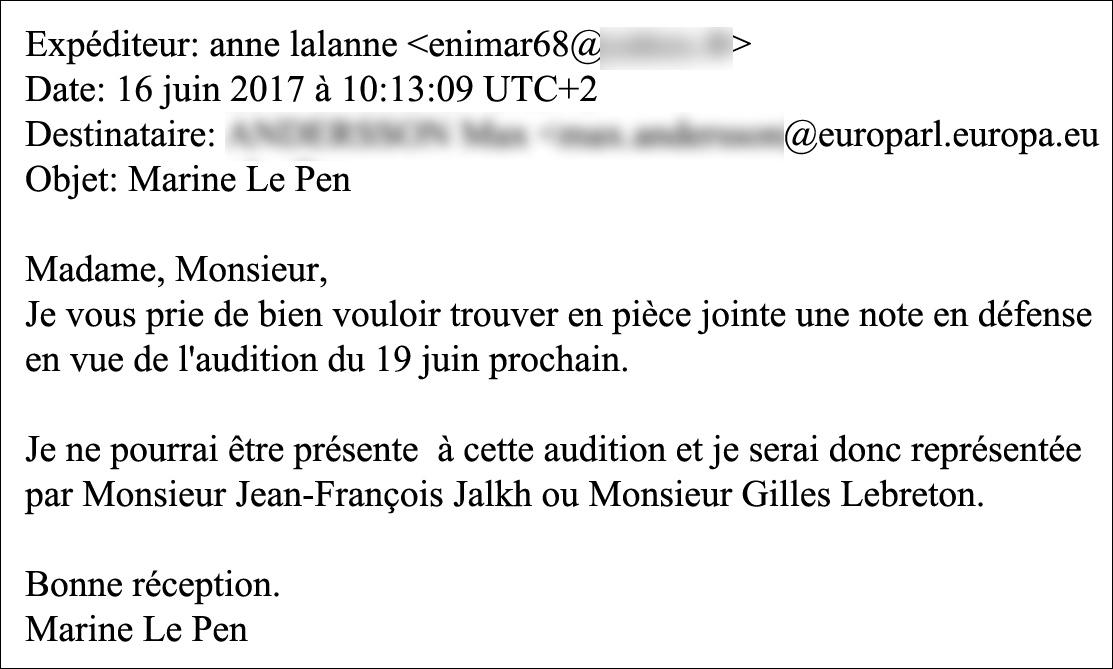 E-mail d\'Anne Lalanne.