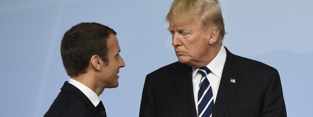 Emmanuel Macron et Donald Trump, pendant le sommet du G20, à Hambourg (Allemagne), le 7 juillet 2017.