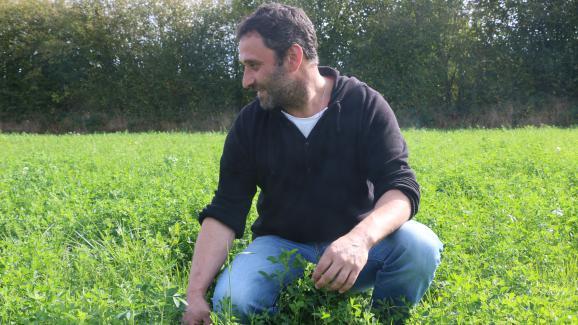 Alain Davy, agriculteur bio, parcourt l\'une de ses prairies à Pointel (Orne), le 27 septembre 2017.