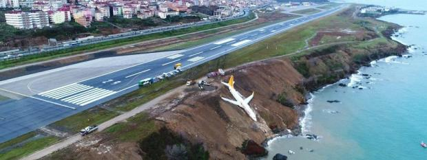 L'appareil de la compagniePegasus Airlines a dérapé sur la piste d'atterrissage de Trabzon (Turquie) et finit sa course au bord d'une falaise, samedi 13 janvier 2018.