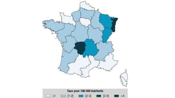 Taux d\'incidence hospitalière annuel moyen pour la borréliose de Lyme par région de résidence ou d\'hospitalisation, France métropolitaine, 2005-2016.