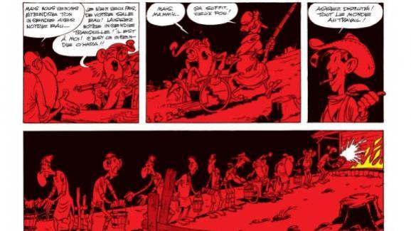 """Extrait de l\'album de Lucky Luke, \""""Les Rivaux de Painful Gulch\"""", paru aux éditions Dupuis."""