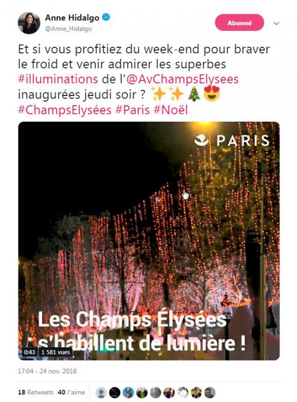 """La maire de Paris a invité les Parisiens à profiter des décorations de Noël sur les Champs-Elysées, samedi 24 novembre, alors que l\'avenue était le théâtre d\'incidents en lien avec un rassemblement de \""""gilets jaunes\""""."""