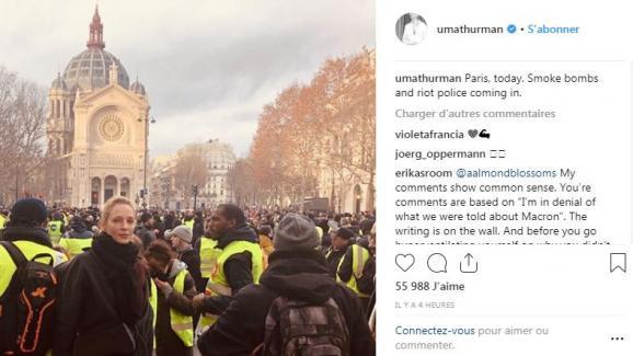 """Capture d\'écran du compte Instagram de l\'actrice américaine Uma Thurman, aperçue dans le cortège des \""""gilets jaunes\"""" à Paris, le 8 décembre 2018."""