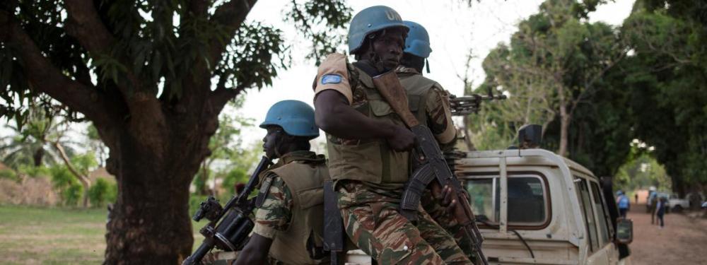Casques bleus camerounais de l\'ONU dans le village de Bambara en République Centrafricaine, le 15 avril 2017.