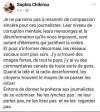 Capture d\'écran d\'un message posté par Sophia Chikirou sur Facebook, le 27 novembre 2018.