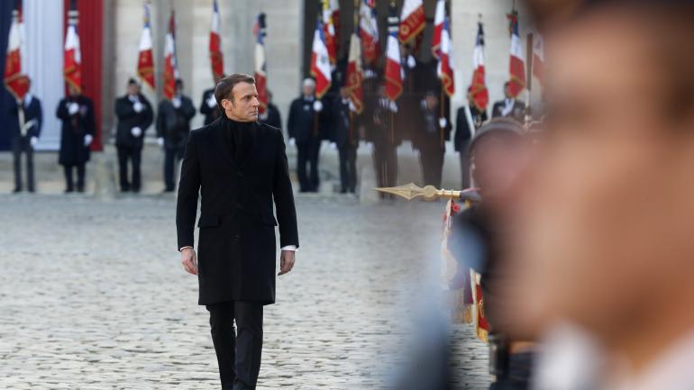 Emmanuel Macron, le 2 décembre 2019 dans la cour des Invalides.