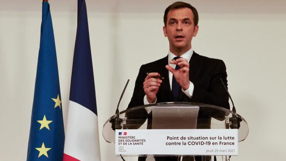 Paris.  Olivier Véran, Minister of Health, during the press conference on Thursday, March 25, 2021 on the government's strategy in the fight against the third wave of the coronavirus. & Nbsp;