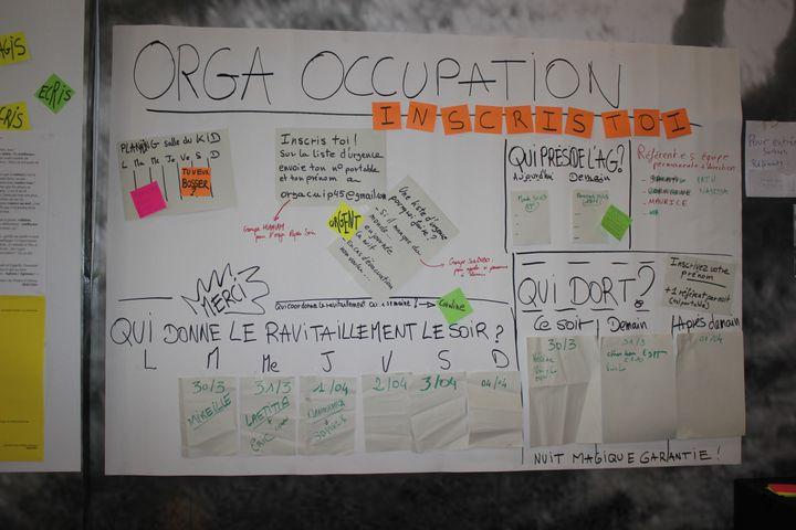 Un tableau qui organise l'occupation du théâtre d'Orléans (Loiret) le 30 mars 2021, tenu par un collectif de citoyens avec des animateurs occasionnels.  (GUILLEMETTE JEANNOT / FRANCEINFO)
