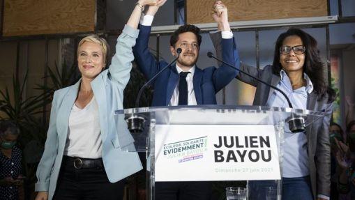 Clémentine Autain (LFI), Julien Bayou (EELV) et Audrey Pulvar (PS), alliés au second tour des élections régionales en Île-de-France, le 27 juin 2021, à Paris. (ALEXIS SCIARD / MAXPPP)