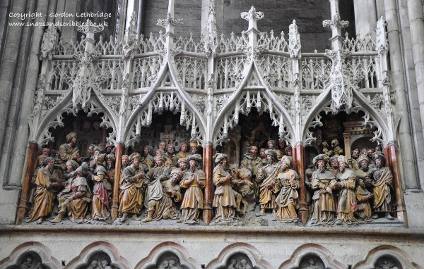 The intricate carvings on the facade of Amiens cathedral