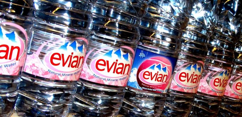 Bottles of Evian