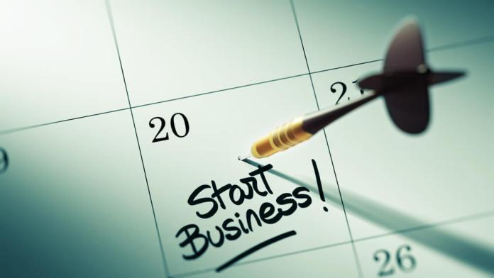 A calendar with a reminder to start a business