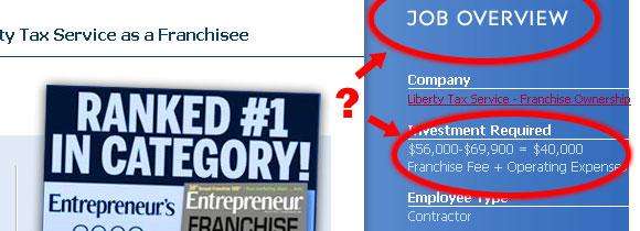 Liberty Tax Service job listing detail page