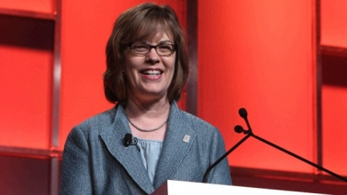 Popeyes CEO Cheryl Bachelder addresses attendees of the 54th annual International Franchise Association Convention.
