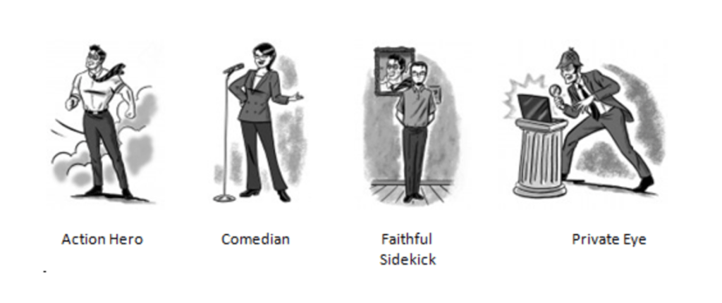 Four caricatures: the Action Hero depicted as a muscular man in a tie standing in strong wind; the Comedian is a woman with short hair doing standup in front of a microphone; the Faithful Sidekick is standing against the wall beside a portrait; and a Private Eye who is holding spyglass in front of an open laptop on a short ionic column