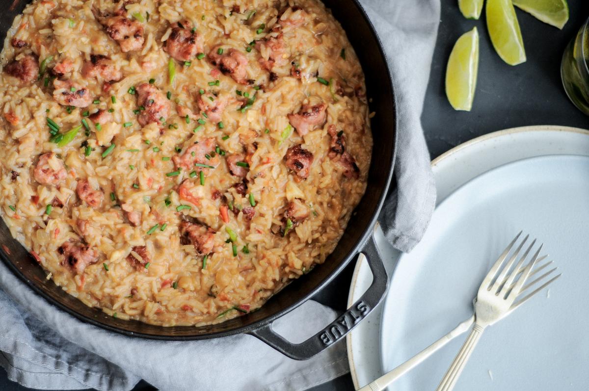arroz de linguiça cremoso