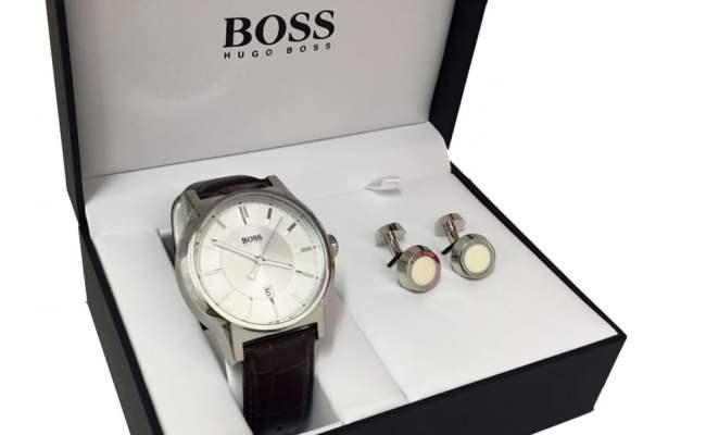 Boss Men S Leather Watch Steel Cufflink Gift Set