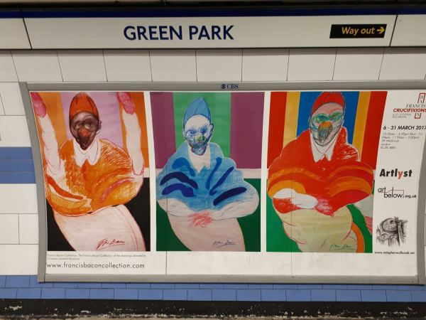 London Underground Poster Of Francis Bacon Crucifixions St Stephen Walbrook