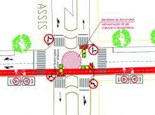 Projeto mostra esquina da Julio Assis coma Curitiba, que terá um semáforo no lugar da rotatória