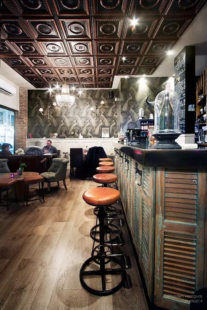 Decoracin estilo industrial restaurante La Clef dOr Niza