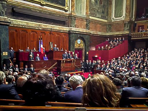 Pendant le discours du Président de la République devant le congrès. ©franckmontauge.fr