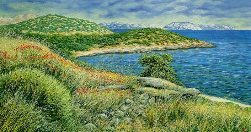 Capo Sunion. La baia di Poseidone - olio su tela cm 100x60 anno 2001