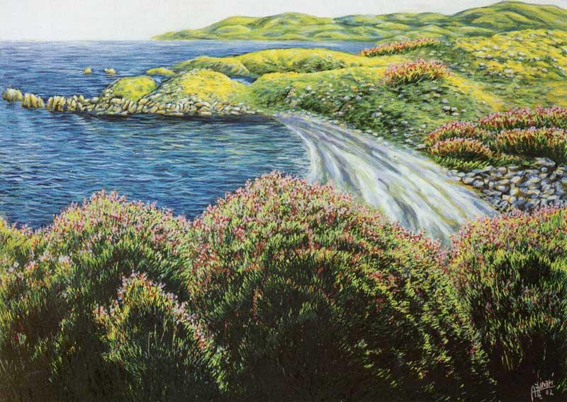 La baia di Sthonia. Tramonto giallo - olio su tela cm 70x50 anno 2002