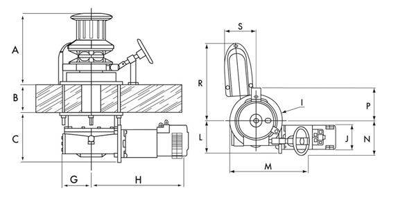 Lofrans Molinete Anclas Ercole vertical campana Hidraulico