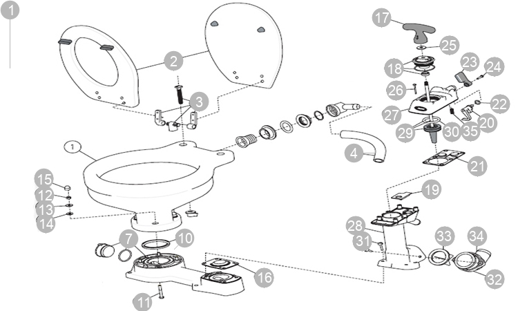 Jabsco Inodoro WC Manual Grande Twist and Lock