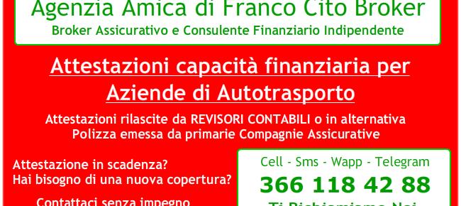 Attestazione Capacità Finanziaria Autotrasportatori
