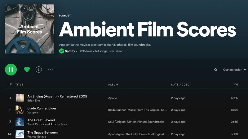 Spotify Editorial Playlist Ambient Film Scores Image