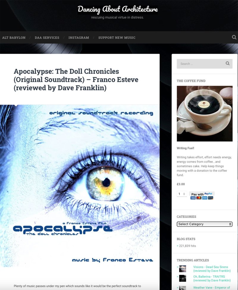 Dancing About Architecture Music Review of Apocalypse: The Doll Chronicles (Original Soundtrack) Album Screenshot
