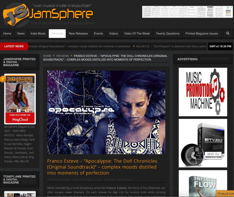 Jamsphere Magazine Review of Apocalypse, The Doll Chronicles (Original Soundtrack)