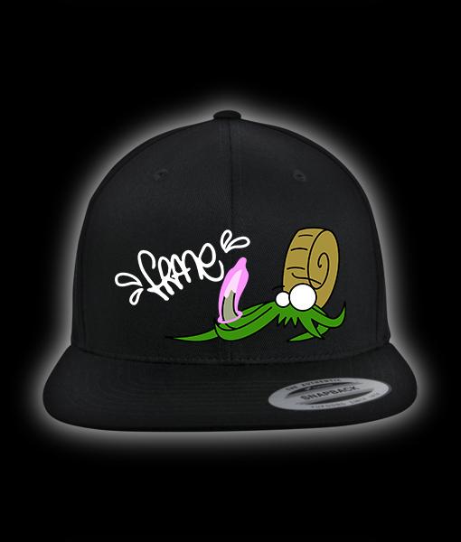 schwarzes Snapback Cap mit Ammonit, Kondom und FRANE Schriftzug