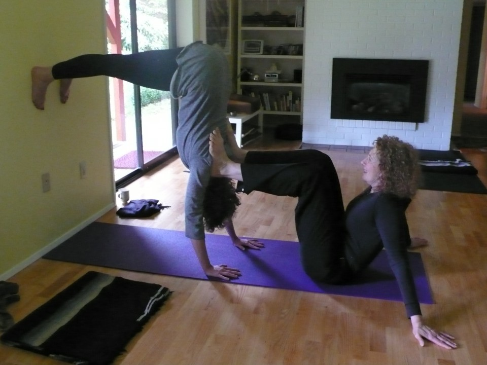 Britt and Marilyn practicing inversions
