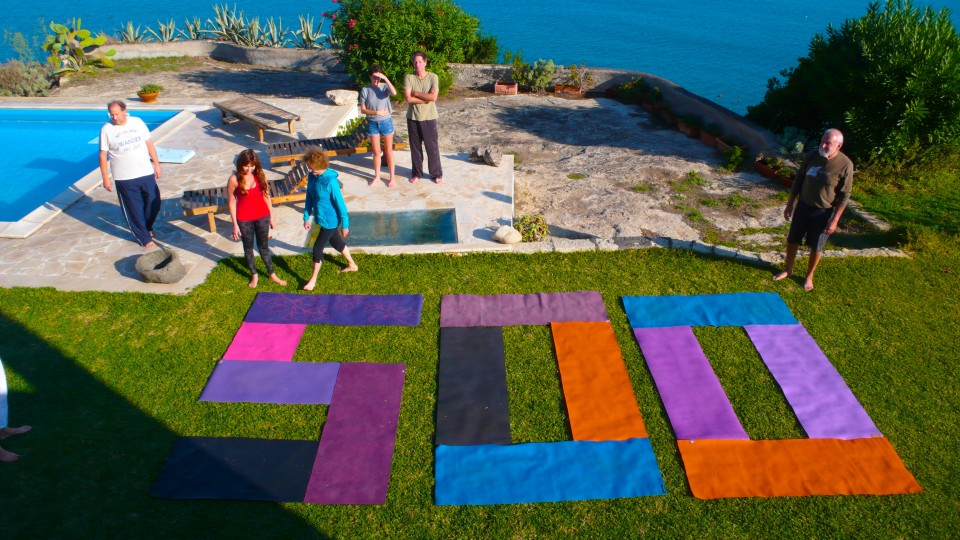 Making the 500 out of our yoga mats!  Perfect!!  We had just enough mats.