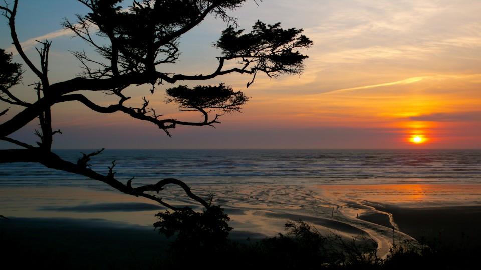 Sunset on Sunday evening at Iron Springs, Washington, along the Olympic Peninsula.